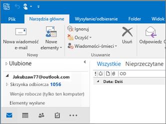 Obraz przedstawiający wygląd konta usługi Outlook.com w programie Outlook 2016.