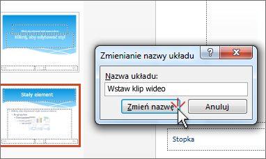 Zmienianie nazwy układu slajdu