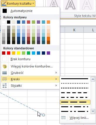 Zmienianie typu linii kreskowanej