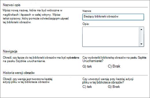 Okno dialogowe, w którym można dodać nazwę, diagram, nawigację po szybkim uruchomieniu i przechowywanie wersji.