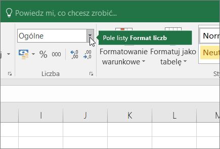 Pole listy Format liczb