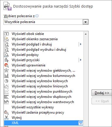 Wybieranie pozycji XML na liście poleceń i klikanie pozycji Dodaj
