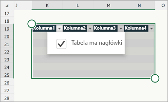 Tabela z zaznaczonym polem wyboru Tabela ma nagłówki