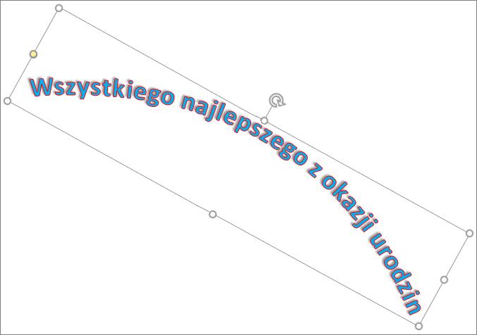 Obracanie obiektu WordArt przy użyciu uchwytu obrotu