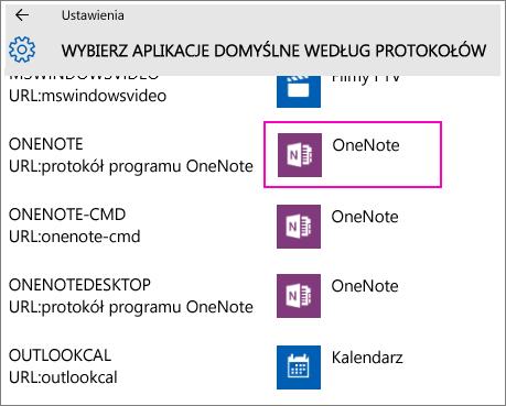 Zrzut ekranu przedstawiający protokoły programu OneNote w ustawieniach systemu Windows 10.