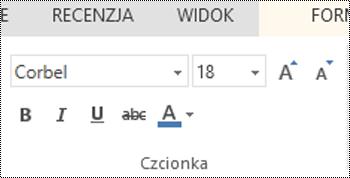 Grupa Czcionka w aplikacji PowerPoint Online