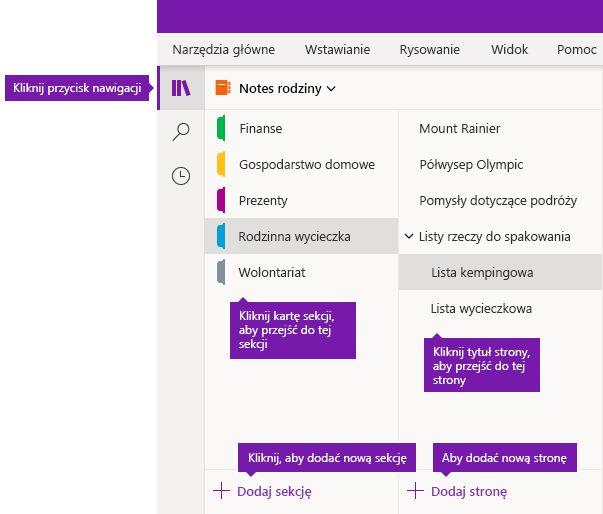 Sekcje i strony w programie OneNote dla systemu Windows 10