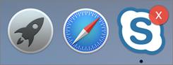 Zrzut ekranu przedstawiający wskaźnik trybu offline w obszarze funkcji dock