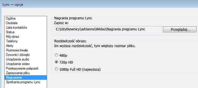 Zrzut ekranu: rozdzielczość i lokalizacja nagrania