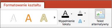 Przycisk tekst alternatywny dla kształtów na Wstążce w programie Powerpoint dla komputerów Mac
