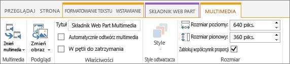 Karta multimediów na Wstążce edytowanie