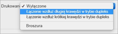 Wybieranie opcji w menu druku dwustronnego