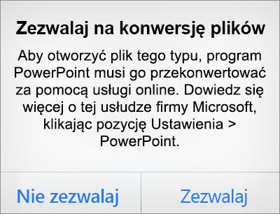 Monit dotyczący poufności informacji w związku z formatem pliku ODF w programie PowerPoint dla telefonu iPhone