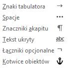 To są znaki formatowania dostępne w wiadomościach e-mail.