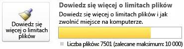 Licznik dokumentów programu SharePoint Workspace w przypadku używania od 7501 do 9999 dokumentów