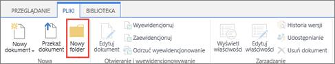 Obraz Wstążki pliki programu SharePoint przy użyciu nowego folderu wyróżnione.
