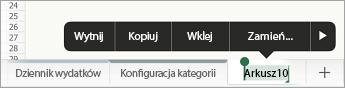 Zaznaczona karta arkusza z wyświetlonymi opcjami zmiany nazwy