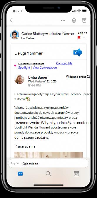 Praca z usługą Yammer z aplikacji mobilnych programu Outlook
