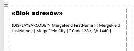 Etykieta adresowa z polami blokowymi i kodem kreskowym