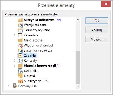 Kliknij pozycję Zadania w folderze Elementy usunięte
