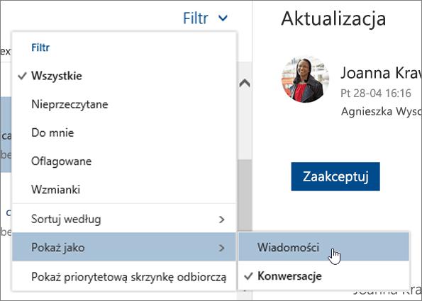 Zrzut ekranu przedstawiający menu Filtr z wybraną pozycją Pokaż jako