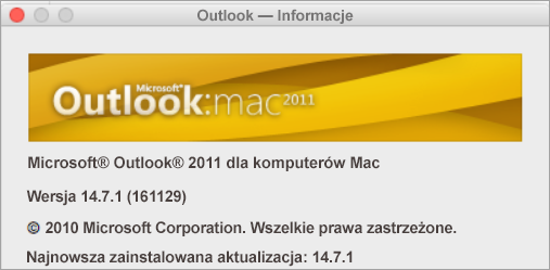 Pole Outlook — Informacje będzie zawierać nazwę Outlook 2011 dla komputerów Mac.