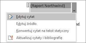 Opcje dostępne w obszarze cytatu