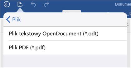 Naciśnij pozycję Plik > Eksportuj w celu wyeksportowania dokumentu do formatu PDF