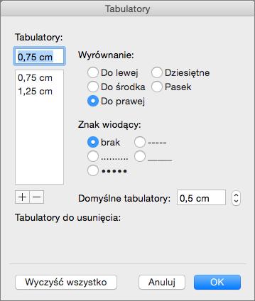 Okno dialogowe Tabulatory