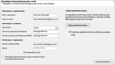 Wprowadzanie ustawień serwera usługi Gmail