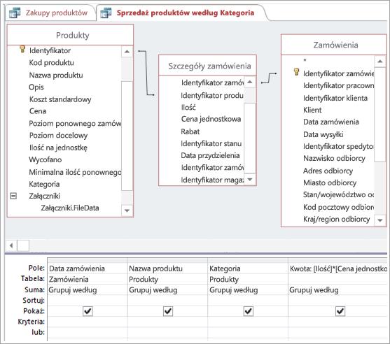 Tworzenie wymaganych połączeń przy użyciu tabeli pośredniej