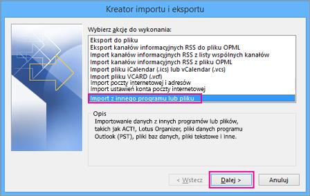 Wybierz importowanie z innego programu lub pliku.