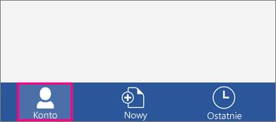 Przedstawia przycisk konto w programie Word dla telefonu iPhone