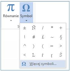 W menu Symbol kliknij pozycję Więcej symboli.