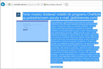 Zrzut ekranu: część strony sieci web zaznaczona do skopiowania.