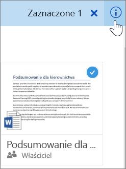 Zrzut ekranu przedstawiający wybieranie określonego elementu i kliknięcie ikony informacji