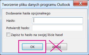 Po utworzeniu pliku pst kliknij przycisk OK, nawet jeśli nie chcesz przypisywać hasła do pliku
