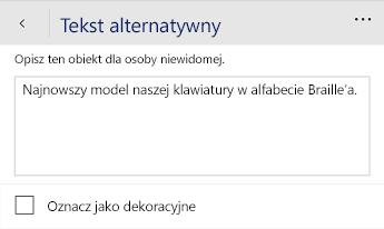 Okno dialogowe tekst alternatywny aplikacji Word Mobile