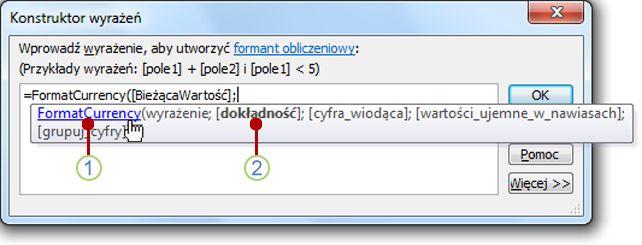 Szybkie informacje wyświetlone dla funkcji