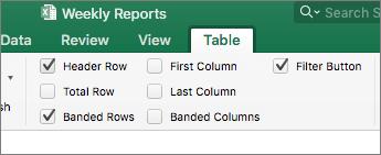 Zrzut ekranu przedstawiający opcje stylu tabeli na karcie Tabela z zaznaczonymi polami wyboru