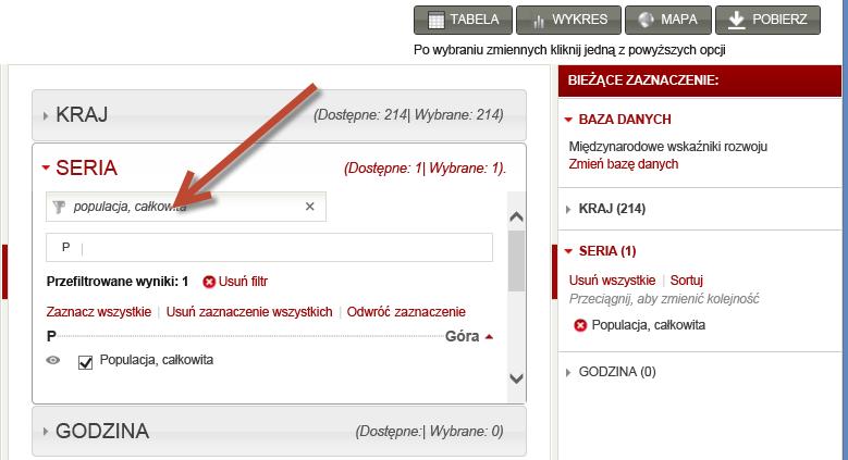 Wybieranie zestawów danych w witrynie Worldbank.org
