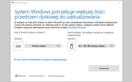 """Komunikat """"System Windows potrzebuje więcej miejsca do wykonania aktualizacji"""""""