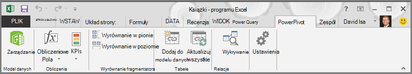 Wstążka programu PowerPivot
