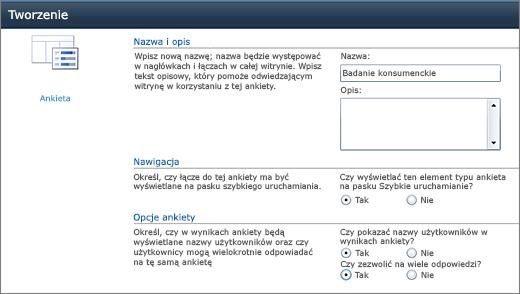 Strona opcji programu SharePoint 2010 ankieta