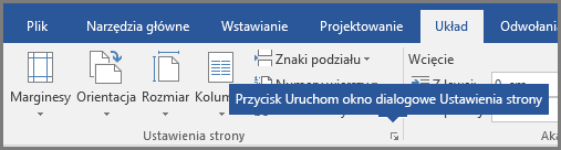 Przycisk Uruchom okno dialogowe Ustawienia strony w programie Word.