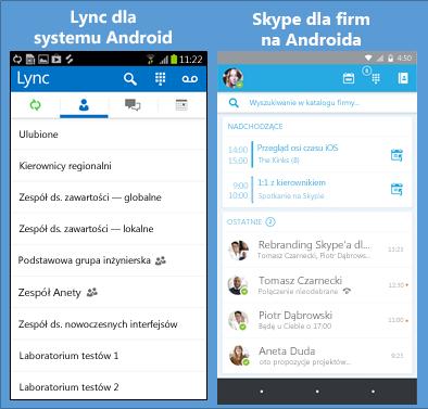 Porównanie zrzutów ekranu programu Lync i Skype dla firm