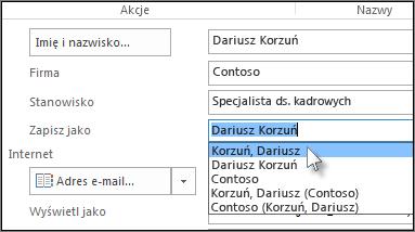 Kliknij pole z prawej strony kolumny Zapisz jako i wybierz odpowiedni format.