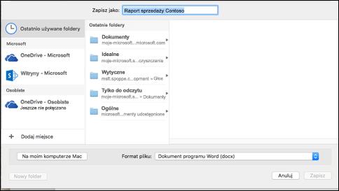 Okno dialogowe lokalizacje online z usługi SharePoint Online możliwie lokalizacji zapisywania