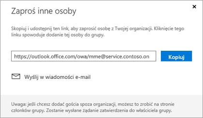 Kliknij pozycję Kopiuj lub wiadomości E-mail, aby osadzić link Dołącz do w wiadomości e-mail