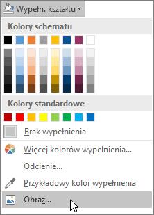 Zrzut ekranu przedstawiający opcję Wypełnienie obrazem z obszaru Wypełnienie kształtu na karcie Formatowanie w programie Publisher.
